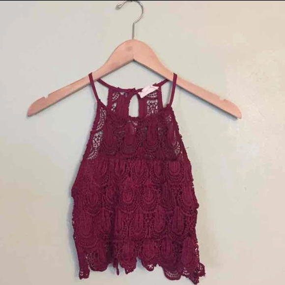 La Hearts Tops - Burgendy lace crop top